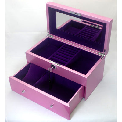 Kandi Pull Out Drawer Jewellery Box Metallic Pink Finish 30cm Open KJ05MPK