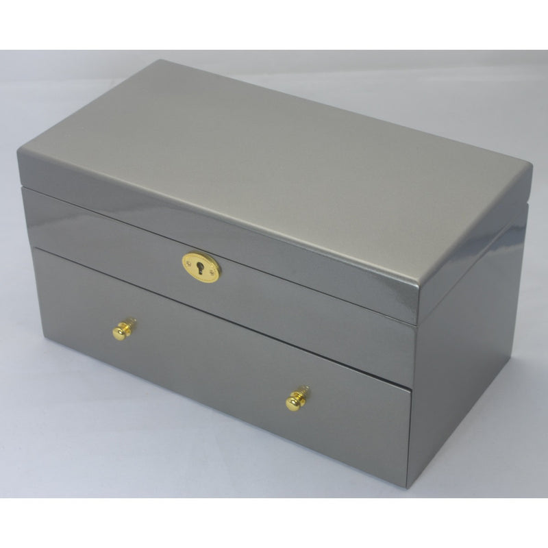Kandi Pull Out Drawer Jewellery Box, Steel Finish, 30cm