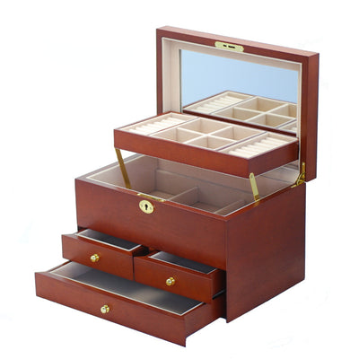 Pearl Time Multiple Drawer Jewellery Box Matt Cherry Finish 30cm Open PJ007A