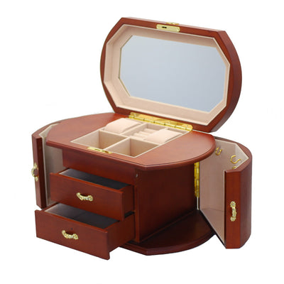 Pearl Time Multiple Drawer Side Wings Jewellery Box, Light Brown, 34cm