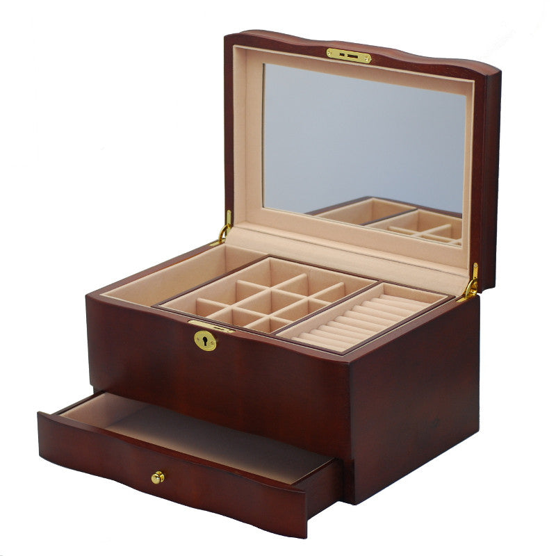 Pearl Time Single Drawer Jewellery Box Matt Dark Brown Finish 33cm Open PJ011A