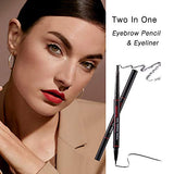2 in 1 eyebrow pencil + eyeliner,with 80 pairs eyeliner stickers, double-headed smudge-proof...