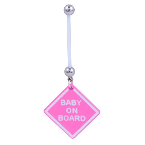 "AKOAK Pink ""Baby On Board"" BioFlex Pregnancy Navel Dangle Belly Button Ring,Belly Button Ring..."