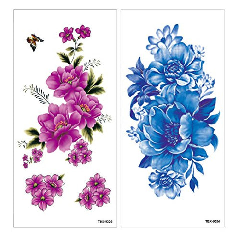 9f3ec7ee4 ... Flower Temporary Tattoos Stickers Lotus Cherry Blossoms Flash Tattoo  Pack of 12 Sheets