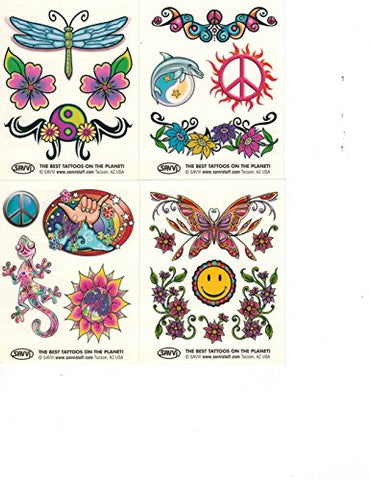 Basteln & Kreativität 50 Love and Peace Sign ... Hippie Temporary Tattoos Party Favor and Costume Set