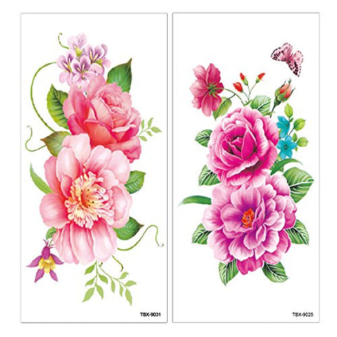 fa9061d9c ... Flower Temporary Tattoos Stickers Lotus Cherry Blossoms Flash Tattoo  Pack of 12 Sheets ...