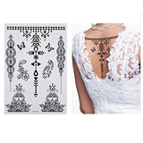 Aboat Pack of 9 Sheets Henna Temporary Tattoo Black Body Art Sticker