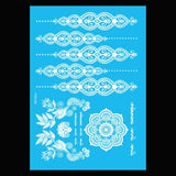 6-Sheet White Henna Tattoos Lace Mandala Body Paint Temporary Tattoo Sticker G/2W