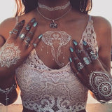 6 Sheets White Henna Temporary Tattoo Stickers,Henna Body Paints Women Girls Designs,Flash...