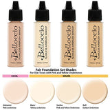 Belloccio Fair Color Shade Foundation Set - Professional Cosmetic Airbrush Makeup in 1/2 oz Bottles