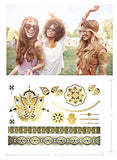 Bohemian Hippie Temporary Metallic Tattoos - Over 75 Colorful Shimmer Designs (6 Sheets) Terra...