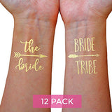 Bachelorette Party Tattoos (12 Pack), Bride Tattoos, Gold Bride Tribe Temporary Tattoos for Bachelorette...