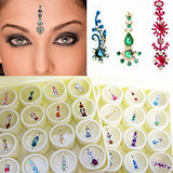 Bindi Box Long Multicolored Crystal Bindis Bridal face Jewels Forehead Tika (Pack of 20 Bindis)