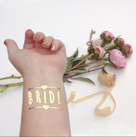 Bachelorette Bride Party Temporary Tattoos Hen Bridal Shower Party Supplies Gold and Silver...