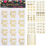 119 pc Bachelorette Party Tattoos/Bride Flash Tattoos (8 Sheets) Perforated Temporary Metallic...