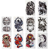 BMC 10pc Stylish Large Statement Temporary Water Transfer Fashion Tattoos Set - Bad to the Bone