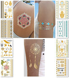 Metallic Temporary Tattoos for Women Teens Girls - 8 Sheets Gold Silver Temporary Tattoos...