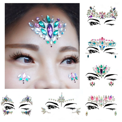 AooHome 6 Sets Festival Face Jewels Tattoos Glitter, Self-adhesive Eyes Face Body Crystal Stones...