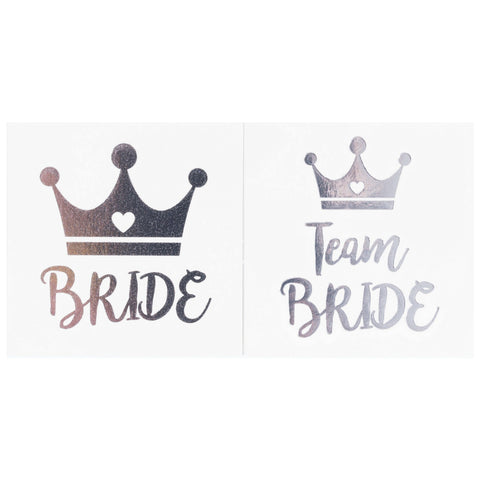Bachelorette Party Temporary Tattoos, 12-Pack Bride & Team Bride Long-Lasting Metallic Silver for...