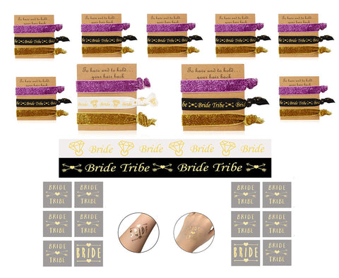 10 Pack Bachelorette Hair Ties Set To Have and to Hold Your Hair Back Bride and Bridesmaid Party Favors (Black, White, Gold, Pink)