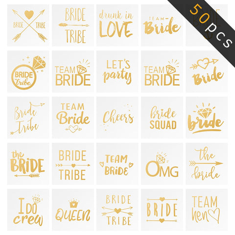 Biubee 50 Sheets Bride Tribe Flash Tattoos- Lasting Bachelorette Party Tattoos for Team Bride,...
