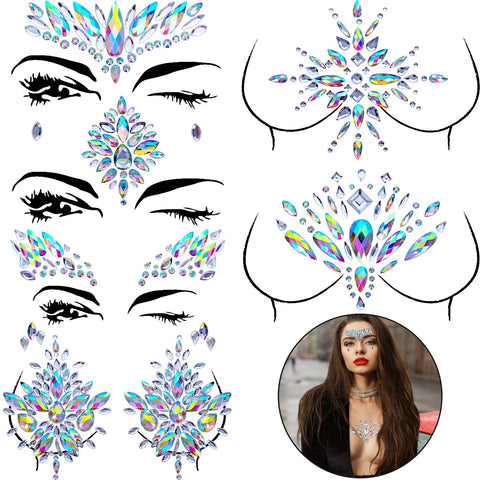 BBTO Set of 6 Face Gems Stickers Breast Body Jewelry Stickers Crystal Nipple Tattoo Stickers for...