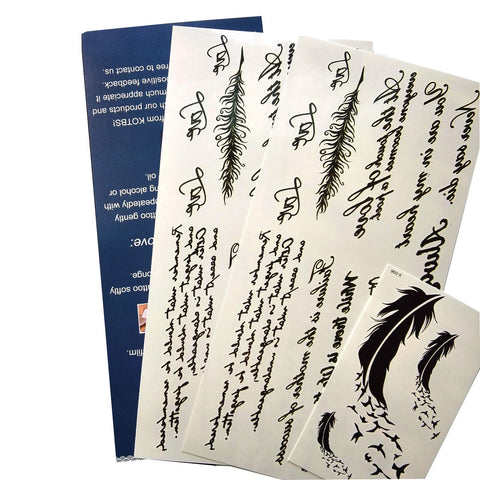 Kotbs Temporary Tattoos Paper Lovely English Words Feather