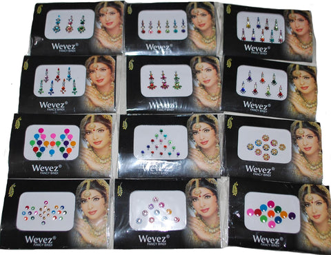 12 Gold ,Silver, Multi Color Bollywood Head Bindi Tattoo Body Glitter