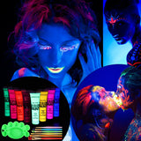 Body Paint, ETEREAUTY UV Glow Blacklight Face and Body Paint 1-oz Set of 8 Tubes with 6 Brushes and...