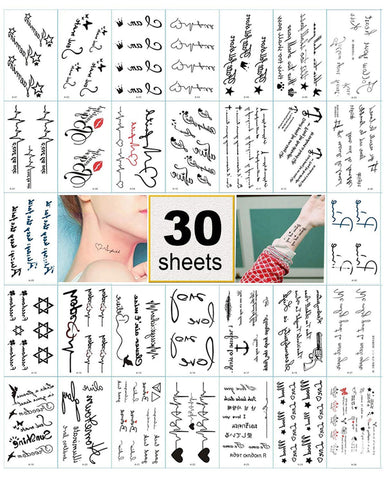 Black Temporary Tattoo Stickers for Women, Kids, Men, Girls – 100+ Different Transfer Stickers, Fake...