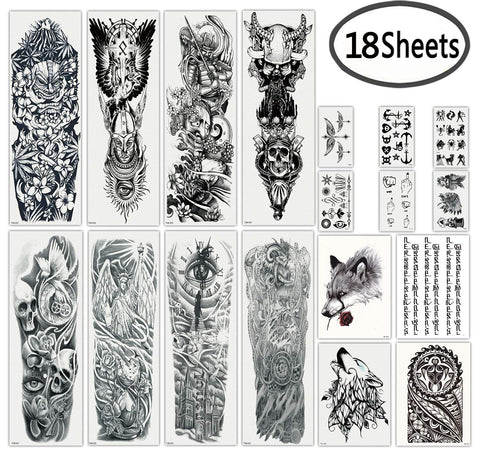 0cbcfadb7 DaLin Extra Large Black Full Arm Temporary Tattoos and Half Arm Tattoo  Sleeves for Men.