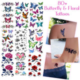 80+ Temporary Tattoos Assorted Butterflies and Flowers - For Women and Girls Tattoos for Arms Legs...