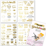 Bachelorette Party Tattoos - Gold & Silver Metallic Flash Temporary Tattoos, Mixed Set of 66 Bachelorette/Hen Party Favors