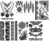 6 Sheets Black Lace Temporary Tattoo Black Ink Henna Stickers G/2B