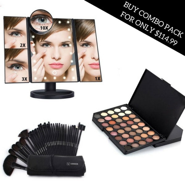 Folding Touchscreen 3-Panel LED Makeup Mirror