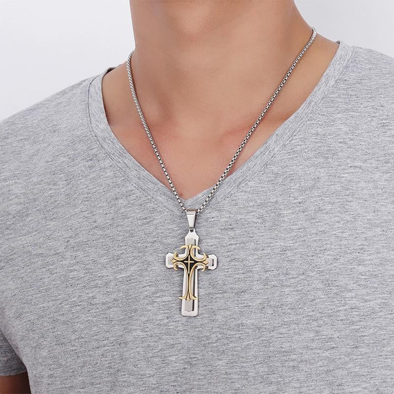 Stainless Steel Cross 3-Tone Pendant Necklace