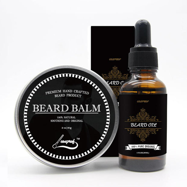 100% Natural Organic Beard Balm + Beard Oil Set