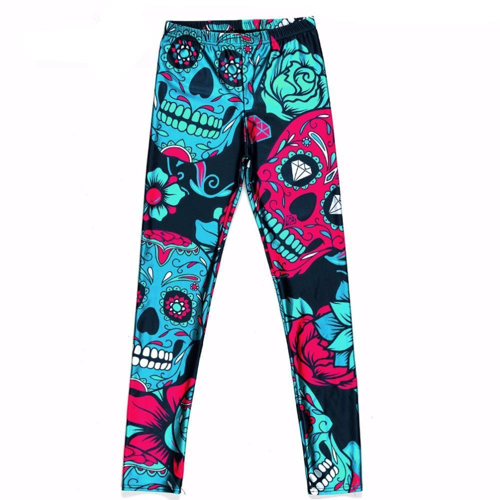 Sugar Skull Leggings - Red/Green