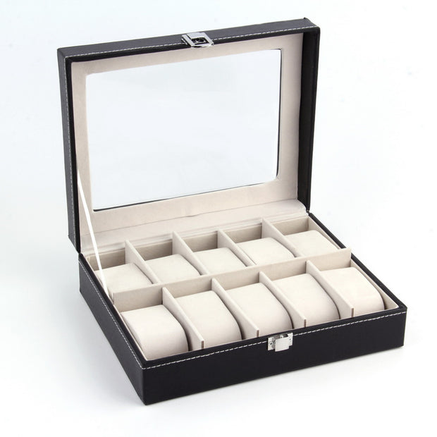 Luxury Leather 10 Grid Professional Watch Storage Box
