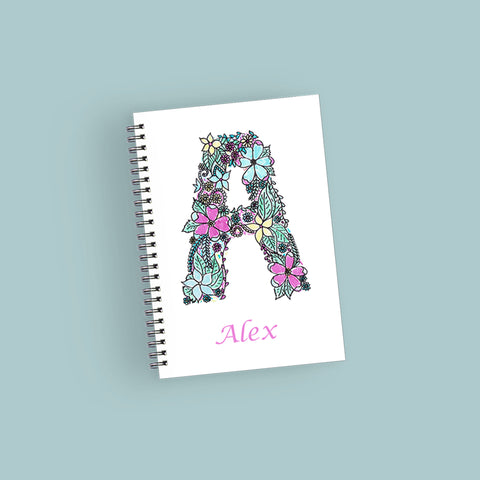 Personalised Floral Alphabet Notebook