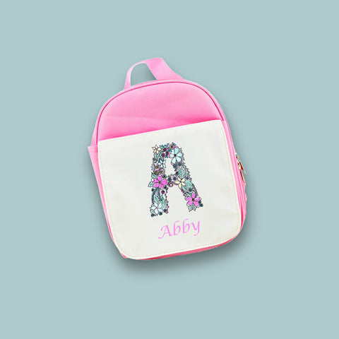 Personalised Floral Alphabet Lunch Bag