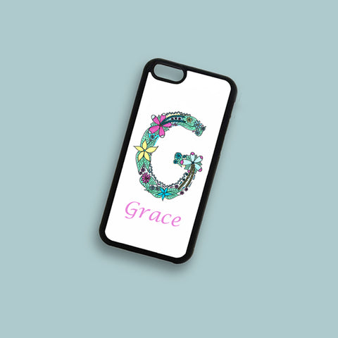 Personalised Floral Alphabet Phone Case