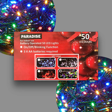 Christmas Light 50 LED Multi coloured Battery operated lights