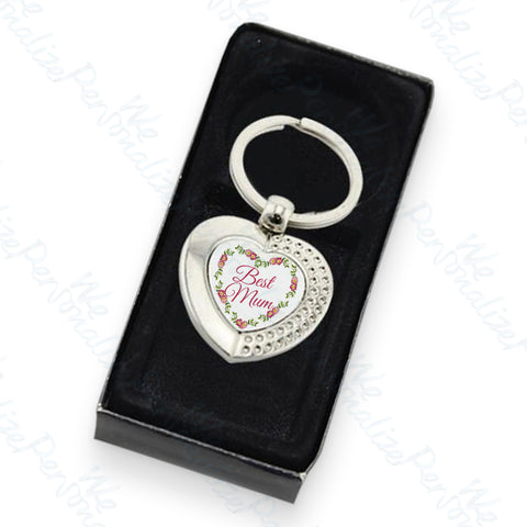 'Best Mum' Heart Keyring