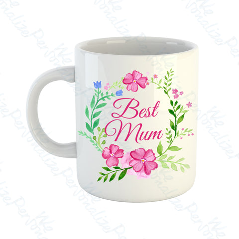 'Best Mum' Pink Wreath Mug