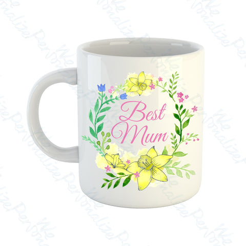 'Best Mum' Yellow Wreath Mug
