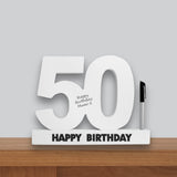50th Birthday Signature Number Standing Wood Plaque