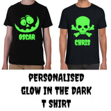 PERSONALISED GLOW IN THE DARK HALLOWEEN T-SHIRT, ADD YOUR NAME SKULL PUMPKIN