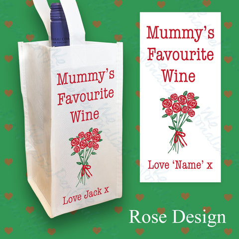 Personalised Rose Design Wine Bottle Bag