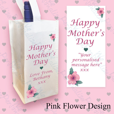 Personalised Pink Flower Wine Bottle Bag